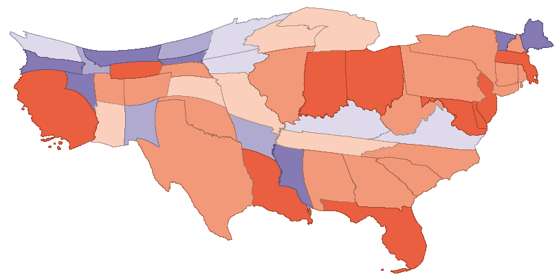 State CO2 emissions cartogram